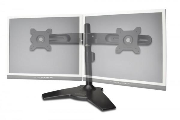 """Doppel Monitor Halter mit Fuß,schwarz, 20° schwenkbar,20° neigbar,90° rotierbar 15""""-24"""" TFT,max. Gewicht 30kg Digitus® [DA-90322]"""