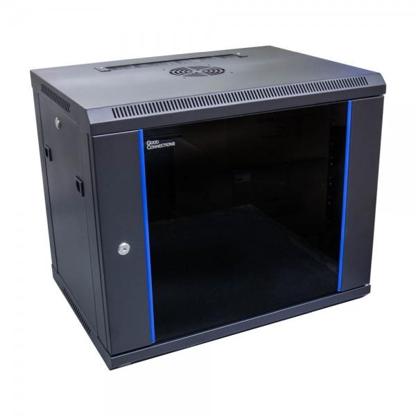 """19"""" Wandgehäuse, 9HE, tiefschwarz (RAL9005) 600x450 mm, fertig montiert, Good Connections®"""