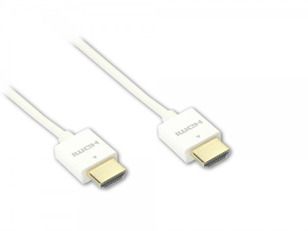 Anschlusskabel Super slim High Speed HDMI® with Ethernet, A Stecker beidseitig, weiß, 1m, Good Connections®