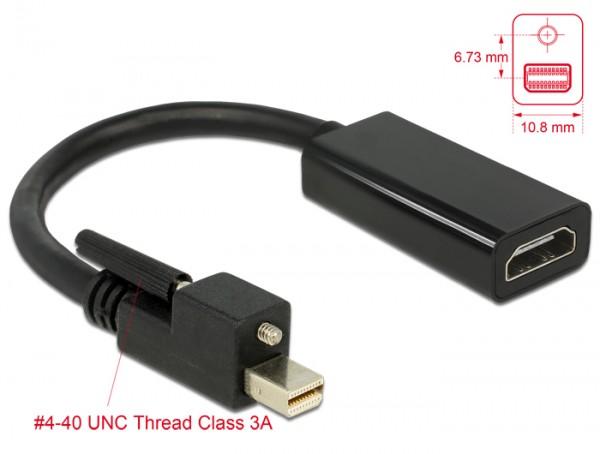 Adapter mini Displayport 1.2 Stecker mit Schraube an HDMI Buchse 4K Aktiv schwarz, Delock® [62640]