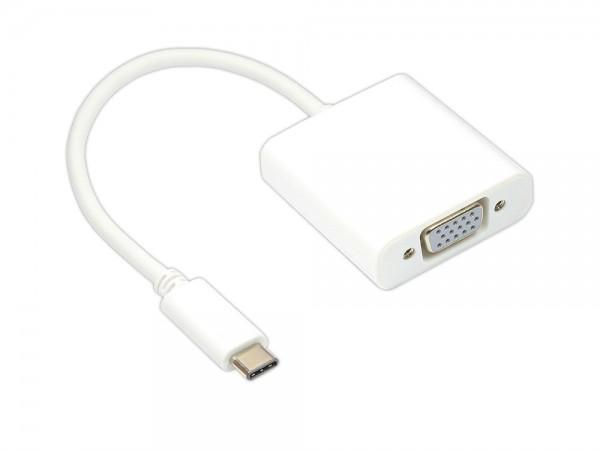 Adapter USB 3.1 C Stecker an VGA Buchse 15-polig, Länge: 14 cm, Good Connections