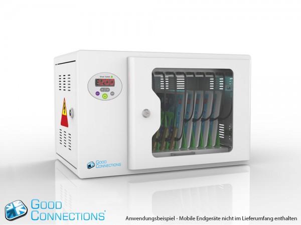 Tablet-Ladewagen für bis zu 10 Geräte, UV-C Desinfektion, Smart Control, Synchronisierungsfunktion für iOS/Android, grau, Good Connections®