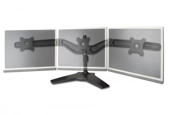 """Dreifacher Monitor Halter, schwarz, 20° schwenkbar, 90° rotierbar, 20° neigbar, 15""""-24"""" TFT, max gew. 8Kg Digitus® [DA-90315]"""