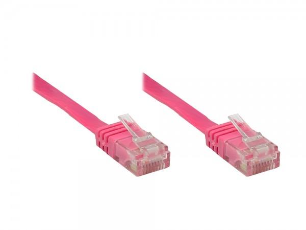 Patchkabel, Cat. 6, U/UTP, FLACHKABEL, magenta, 15m, Good Connections®