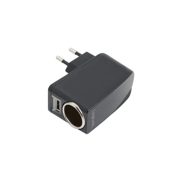Netzteil mit Zigarettenanzünder- und USB-Buchse, LogiLink® [PA0046]