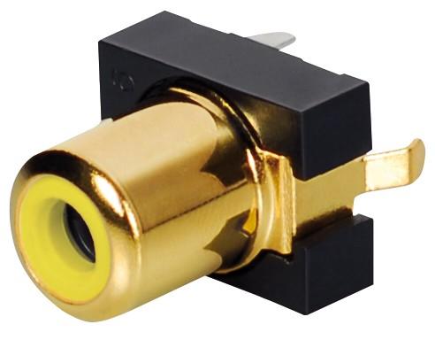 Einbaubuchse, Cinch, vergoldet, gelb, Good Connections®