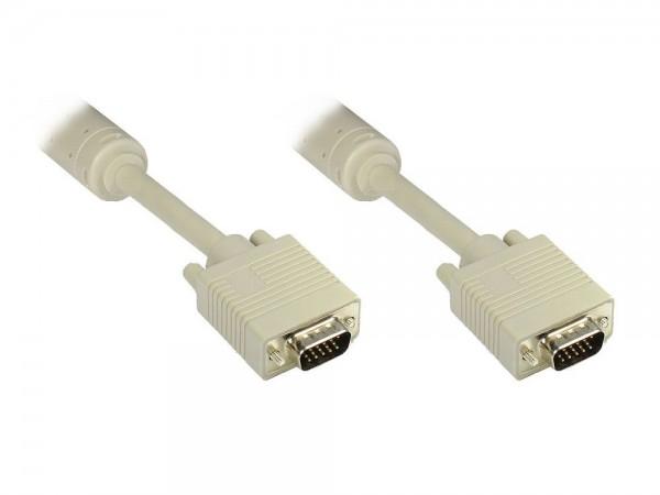 Anschlusskabel S-VGA Stecker an Stecker, grau, 3m, Good Connections®