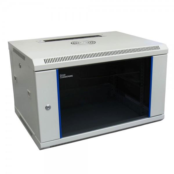 """19"""" Wandgehäuse, 6HE, lichtgrau (RAL7035) 600x450 mm, fertig montiert, Good Connections®"""