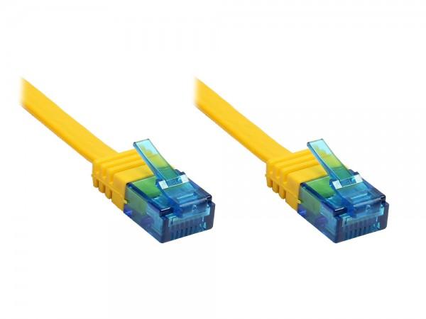 Patchkabel, Cat. 6a, U/UTP, FLACHKABEL, 500 MHz, gelb, 7m, Good Connections®