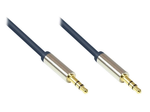 Audio Anschlusskabel High-Quality 3,5mm, 2x Klinkenstecker, Vollmetallgehäuse, dunkelblau, 2m, Good Connections®