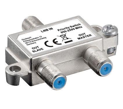 Vorrang-Schalter verteilt/schaltet 1 LNB auf 2 SAT-Receiver, Good Connections®
