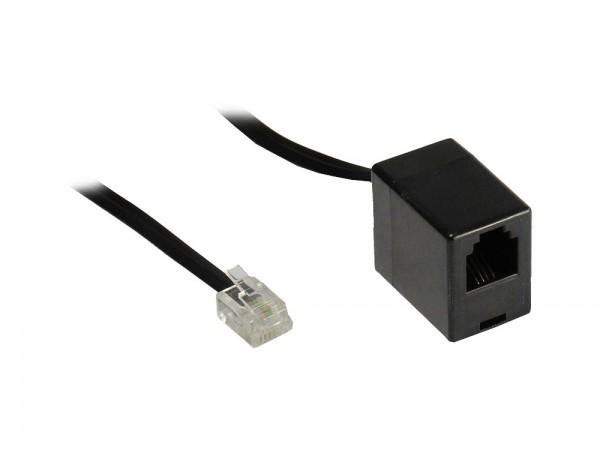 RJ11 Telefonverlängerung, 6p4c Stecker an Buchse, schwarz, 3m, Good Connections®