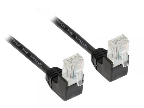 Patchkabel, Cat. 5e, U/UTP, schwarz, beidseitig 90° nach unten gewinkelt, 15m, Good Connections®