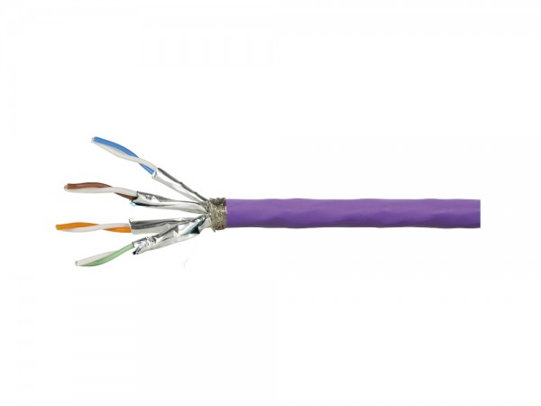 Verlegekabel Cat. 7A S/FTP 1200 MHz Simplex, 4x2xAWG23, PrimeLine, LSZH, violett, 500m, LogiLink® [CQ6500S]