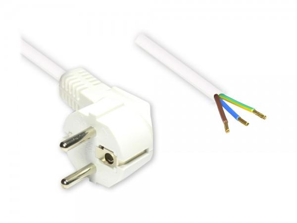 Netzkabel Schutzkontakt-Stecker gewinkelt mit abisolierten Enden, weiss, 5m, Good Connections®