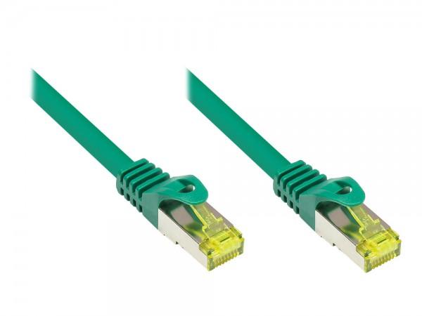 RJ45 Patchkabel mit Cat. 7 Rohkabel und Rastnasenschutz (RNS®), S/FTP, PiMF, halogenfrei, 500MHz, OFC, grün, 0,15m, Good Connections®