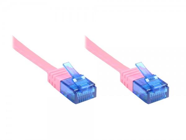 Patchkabel, Cat. 6a, U/UTP, FLACHKABEL, 500 MHz, magenta, 10m, Good Connections®