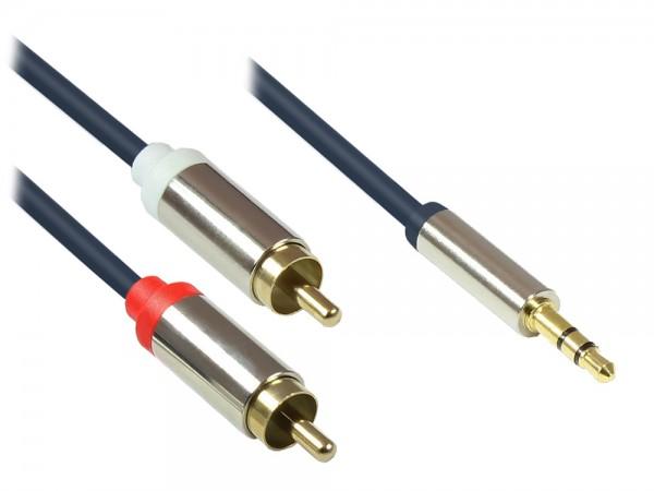 Audio Anschlusskabel High-Quality 3,5mm, Klinkenstecker an 2x RCA Stecker, Vollmetallgehäuse, dunkelblau, 1m, Good Connections®