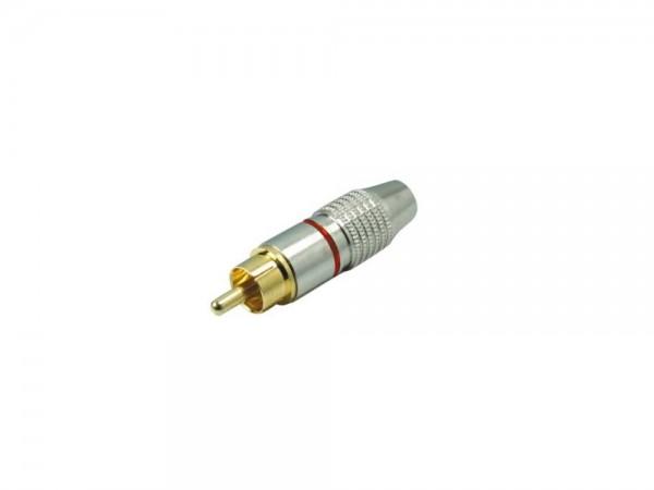 Cinch Stecker, vergoldete Kontakte, Metall silber, für 6mm Kabel, rot