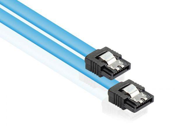 Anschlusskabel SATA 6 Gb/s mit Metallclip, blau, 1m, Good Connections®