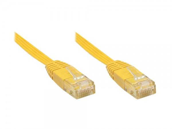 Patchkabel, Cat. 6, U/UTP, FLACHKABEL, gelb, 7m, Good Connections®