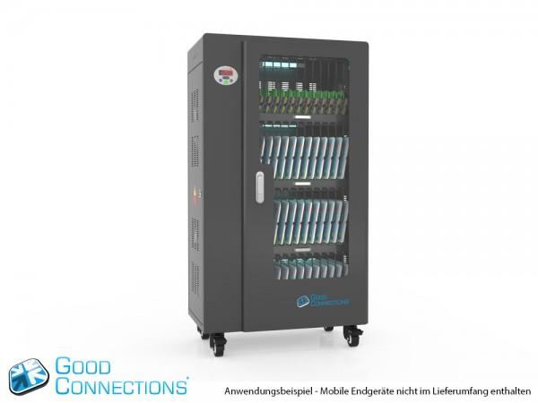 Tablet-Ladewagen für bis zu 52 Geräte, UV-C Desinfektion, Smart Control, Synchronisierungsfunktion für iOS/Android, schwarz, Good Connections®