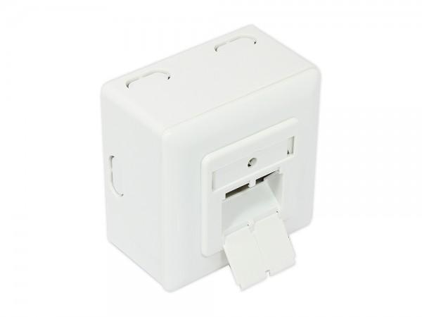 Netzwerkdose Cat. 6A, 2xRJ45, geschirmt, universal inkl. Aufputzgehäuse, DESIGNFÄHIG, vertikale Kabelzuführung, signalweiß RAL9003, Good Connections®