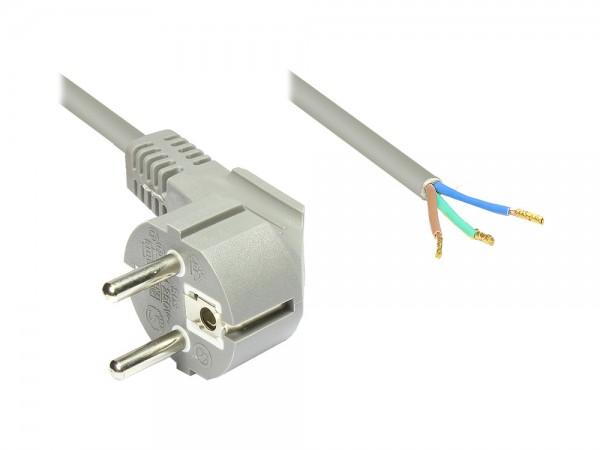 Netzkabel Schutzkontakt-Stecker gewinkelt mit abisolierten Enden, grau, 1,5m, Good Connections®