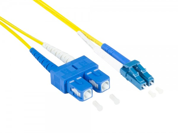 Patchkabel LWL Duplex OS2 (Singlemode, 9/125) LC/SC, LSZH, austauschbare Polarität, 2m, Good Connections®
