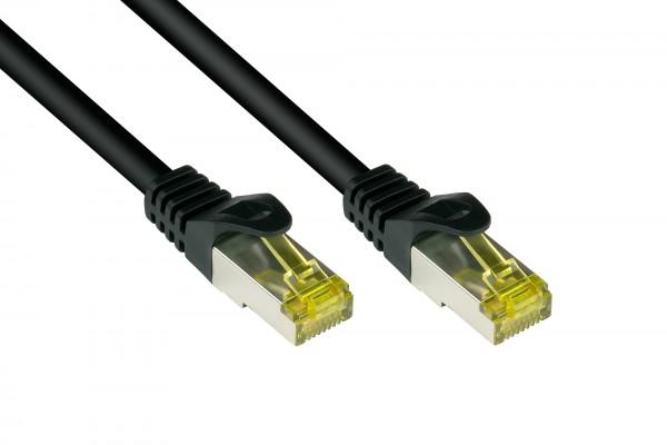 RJ45 Patchkabel mit Cat. 7 Rohkabel und Rastnasenschutz (RNS®), S/FTP, PiMF, halogenfrei, 500MHz, OFC, schwarz, 40m, Good Connections®