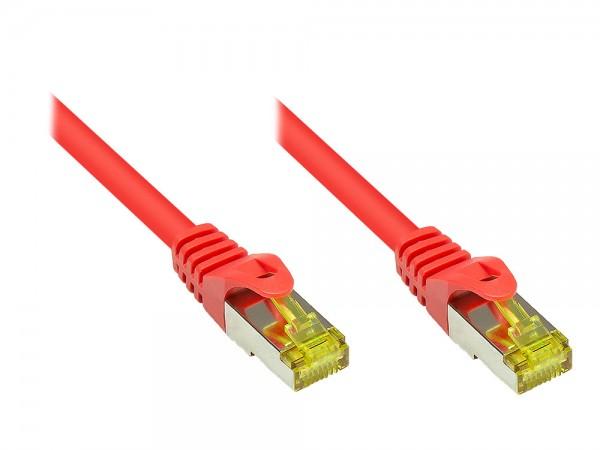 RJ45 Patchkabel mit Cat. 7 Rohkabel und Rastnasenschutz (RNS®), S/FTP, PiMF, halogenfrei, 500MHz, OFC, rot, 0,15m, Good Connections®