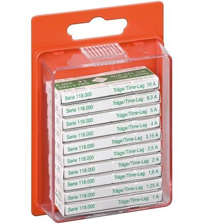 Feinsicherungen Set, 5x20 träge Inhalt: 10 Werte zu je 10 Stück
