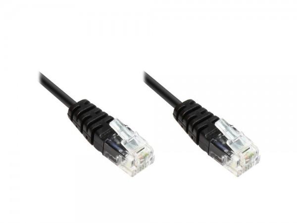 ISDN-Anschlusskabel, 2x RJ11 Stecker, 4-adrig, rund, schwarz, 3m, Good Connections®