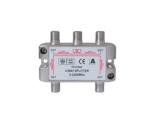 SAT Stammverteiler mit F-Connectoren 4-fach 5-2250 MHz
