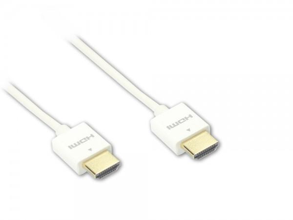 Anschlusskabel Super slim High Speed HDMI® with Ethernet, A Stecker beidseitig, weiß, 1,5m, Good Connections®
