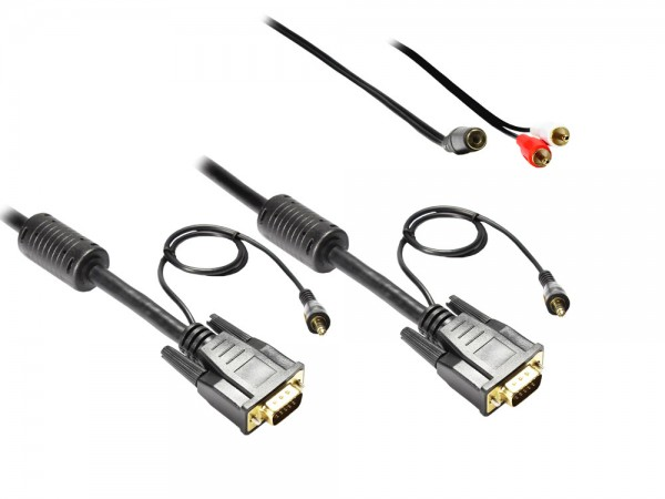 Anschlusskabel S-VGA St. + 3,5mm Klinke St. an S-VGA St. + 3,5mm Klinke St., 10m, Good Connections®