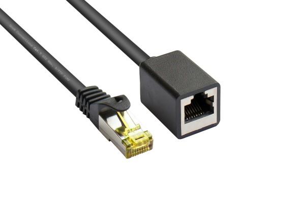 RJ45 Patchkabelverlängerung mit Cat. 7 Rohkabel und Rastnasenschutz (RNS®), S/FTP, PiMF, halogenfrei, 500MHz, OFC, schwarz, 0,5m, Good Connections®