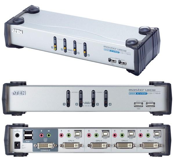 Aten® CS-1764 KVM Desktop Switch 4-Port USB DVI Aten® Masterview