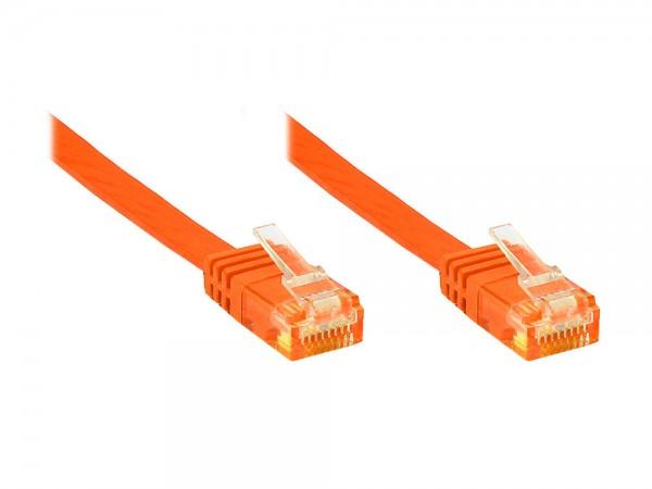 Patchkabel, Cat. 6, U/UTP, FLACHKABEL, orange, 0,5m, Good Connections®