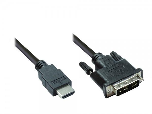 HDMI 19pol Stecker auf DVI-D 18+1 Stecker Anschlusskabel 5m, Good Connections®