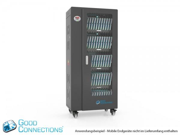 Tablet-Ladewagen für bis zu 60 Geräte, UV-C Desinfektion, Smart Control, Synchronisierungsfunktion für iOS/Android, schwarz, Good Connections®