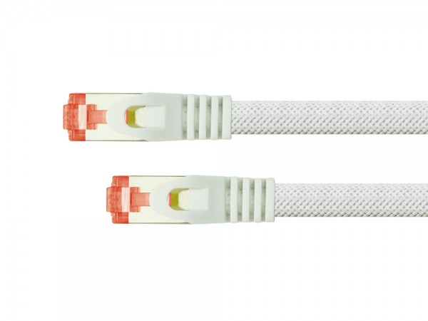 Python® Series Patchkabel mit Rastnasenschutz (RNS®) und Nylongeflecht, Cat. 6, S/FTP, PiMF, PVC, 250MHz, OFC, weiß, 0,25m