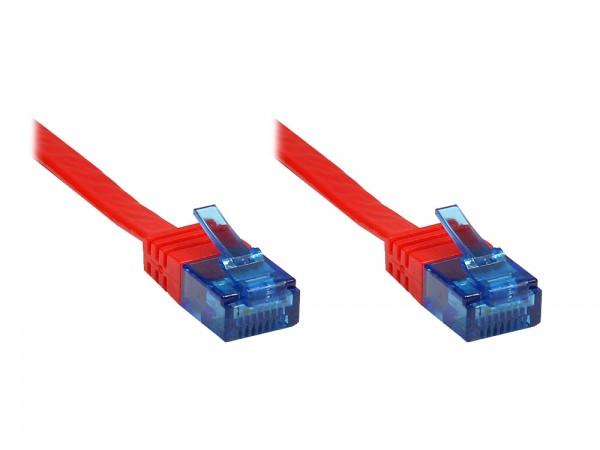 Patchkabel, Cat. 6a, U/UTP, FLACHKABEL, 500 MHz, rot, 10m, Good Connections®
