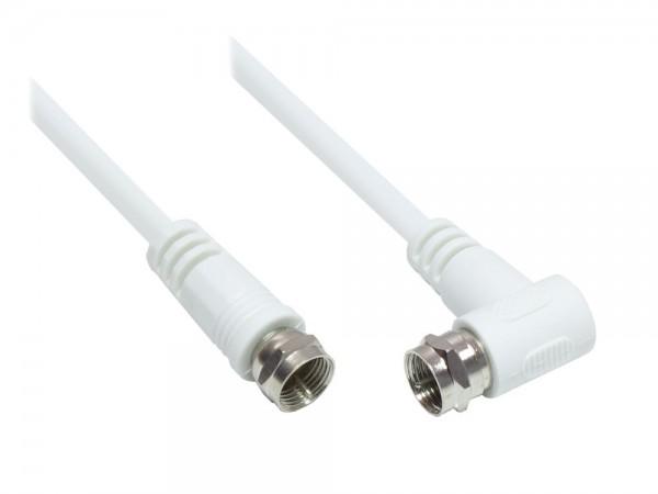SAT Antennenkabel, F-Stecker gerade an F-Stecker gewinkelt (vernickelt), 2x geschirmt (>85dB / 75 Ohm), CCS, weiß, 5m, Good Connections®