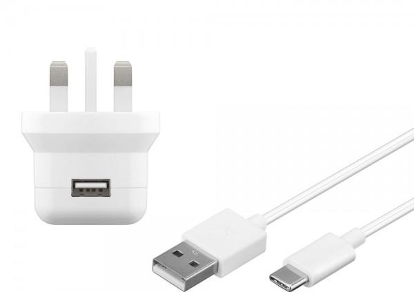 UK USB-Ladegerät, 1 Port, 2,1A, inkl. Anschlusskabel USB-C-Stecker an USB A Stecker, weiß , 1m