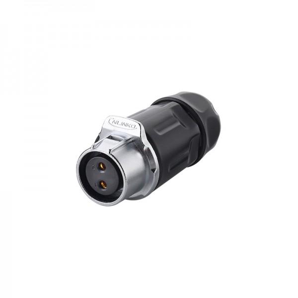 Industrie-Steckverbinder S1 - Power (2-Pin) Buchsenstecker mit Klick-Arretierung, Lötanschluss, M20, IP65/67, Good Connections®