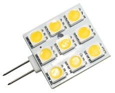 LED G4 Leuchtmittel, 9 x 5050 LEDs, 85 lm, 1,6W, 10-25V AC/D