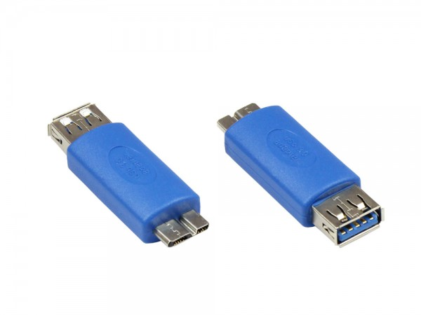 Adapter USB 3.0 OTG (On-the-go), Micro B Stecker an USB A Buchse, Good Connections®