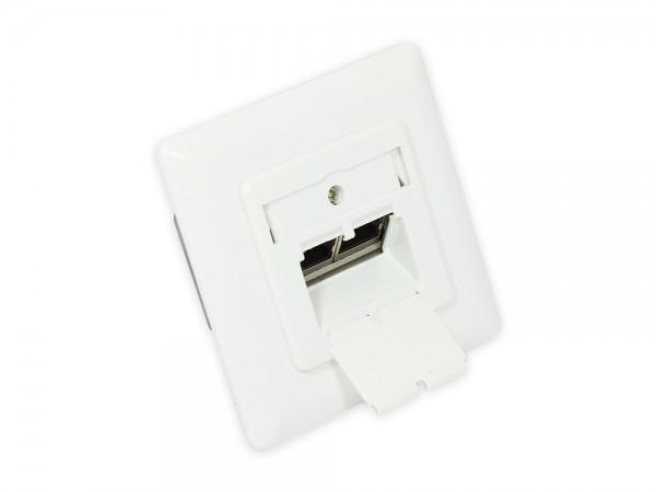 Netzwerkdose Cat. 6A, 2xRJ45, geschirmt, UP, DESIGNFÄHIG, vertikale Kabelzuführung, signalweiß RAL9003, Good Connections®