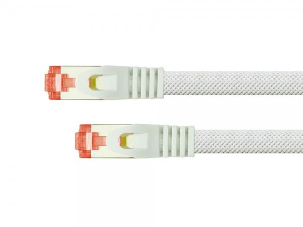 Python® Series Patchkabel mit Rastnasenschutz (RNS®) und Nylongeflecht, Cat. 6, S/FTP, PiMF, PVC, 250MHz, OFC, weiß, 1m